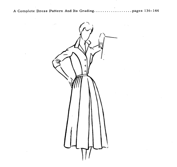 Draft a vintage shirt-dress with winged collar and princess seamed bodice