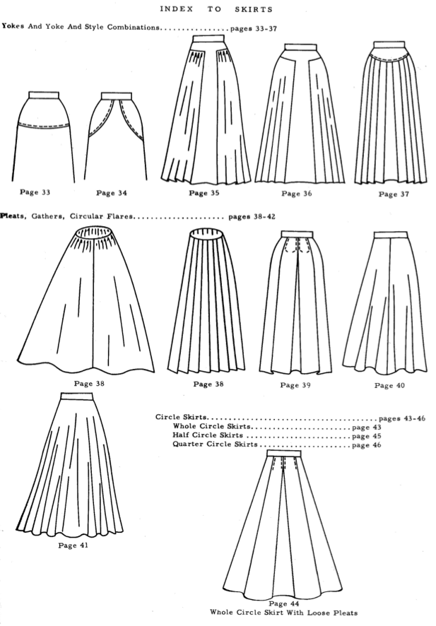 Yoked, flared and circle skirts, A-line, with waistband and without.